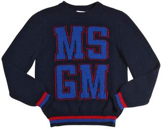 MSGM Logo Intarsia Wool Blend Sweater