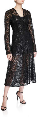 Rotate by Birger Christensen #21 Sequined Lace Long-Sleeve Cocktail Dress