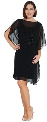 Bob Mackie Bob Mackie's Sparkle Knit Dress with Chiffon Caftan