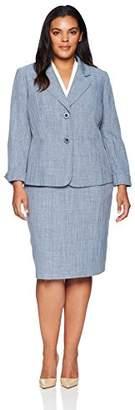 Le Suit Women's Plus Size Melange 2 Bttn Notch Lapel Skirt Suit
