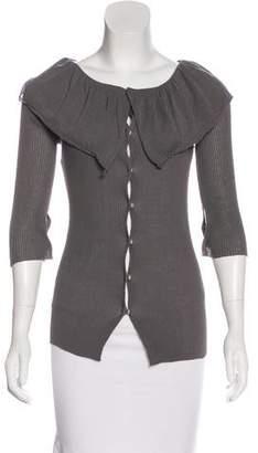 Liviana Conti Rib Knit Button-Up Cardigan