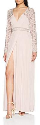 Frock and Frill Women's Belina Long Sleeve Pleated Skirt Maxi Dress Party
