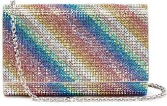 Judith Leiber 'Fizzy' rainbow stripe crystal pavé clutch