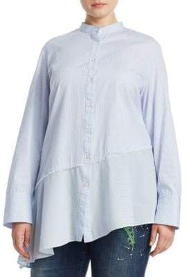 Marina Rinaldi Marina Rinaldi, Plus Size Plus Asymmetrical Cotton Button-Down Shirt