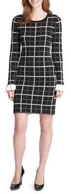 Tommy Hilfiger Peplum-Sleeve Plaid Sweater Dress