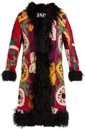 ZAZI Vintage Suzani Embroidered Shearling Lined Coat - Womens - Red Multi
