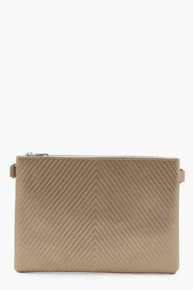 boohoo Metallic Chevron Ziptop Clutch