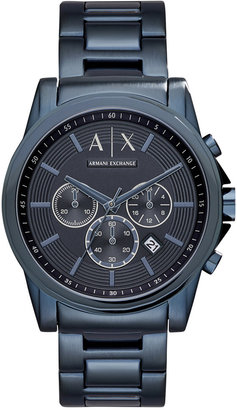 A|X Armani Exchange Men's Chronograph Outer Banks Blue-Tone Stainless Steel Bracelet Watch 44mm AX2512 $210 thestylecure.com