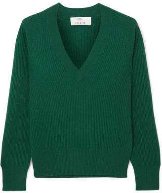 Allude Ribbed Cashmere Sweater - Green