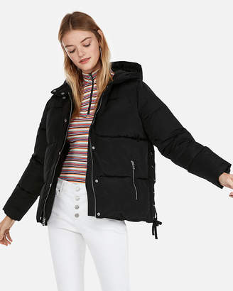 Express Lace-Up Cropped Puffer Coat