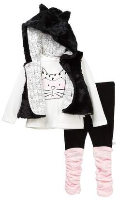 Rosie Pope Kitty Faux Fur Vest, Tee & Legging Set (Baby Girls)