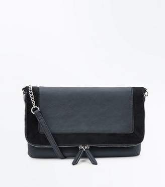 New Look Black Suedette Trim Foldover Cross Body Bag