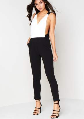 7622b0f13c42 Missy Empire Missyempire Tilly White Plunging Cut Out Jumpsuit