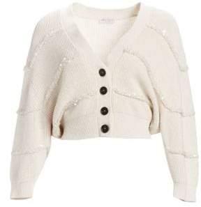 Brunello Cucinelli Women's Paillette Stripe Cotton Cropped Cardigan - Oatmeal - Size XS
