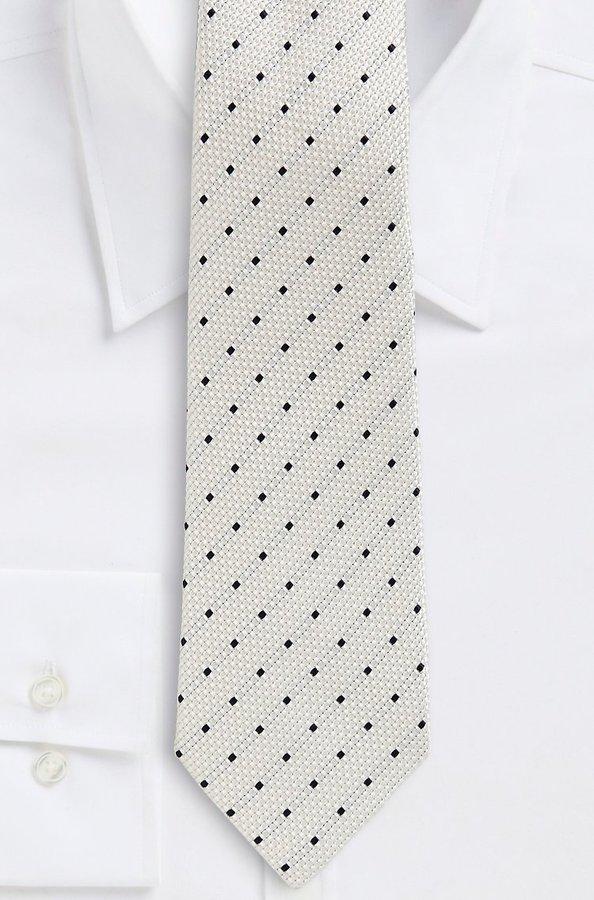 HUGO BOSS '8 cm Tie' | Regular, Textured Silk Dot Print by BOSS Selection