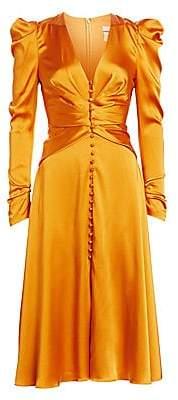 Jonathan Simkhai Women's Sateen Long-Sleeve Ruched Dress