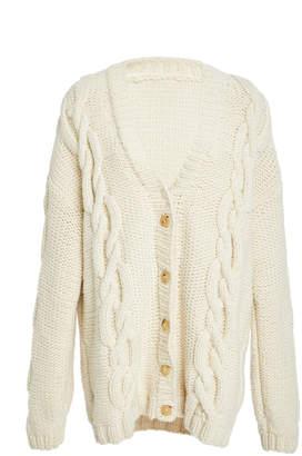 Marina Moscone Exploded Cable Knit Cardigan