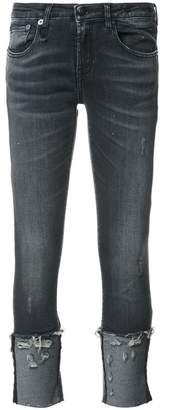 R 13 distressed detail jeans