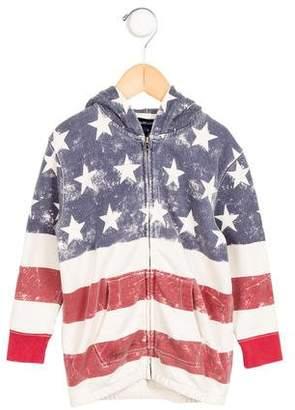 Ralph Lauren Girls' American Flag Hooded Sweatshirt