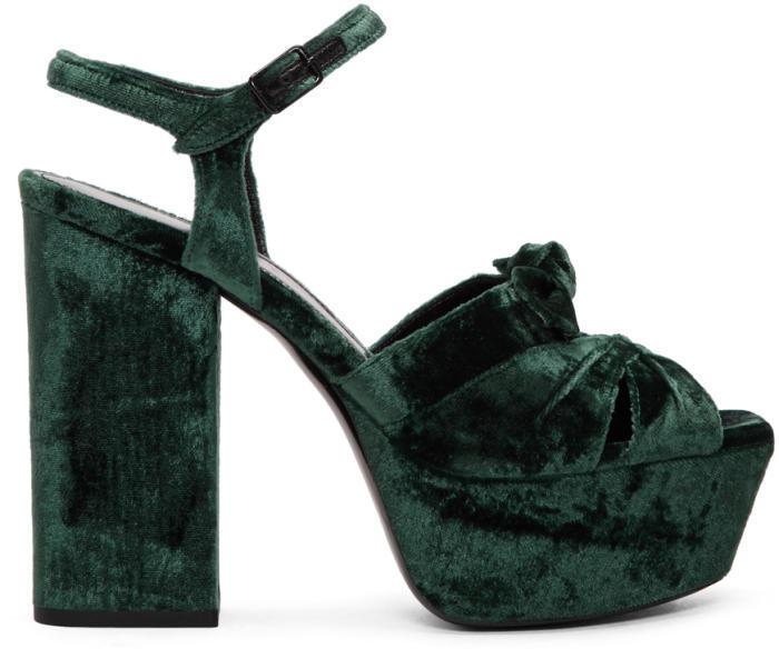 Saint Laurent Green Velvet Farrah Sandals