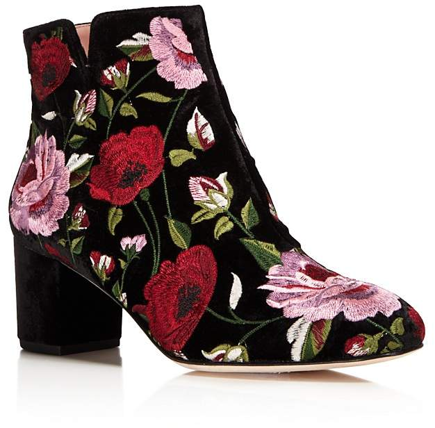 kate spade new york Lucine Floral Embroidered Velvet Booties - 100% Exclusive