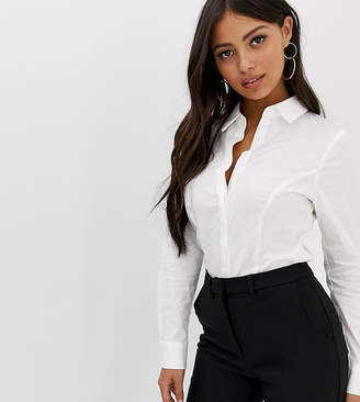 Asos DESIGN Petite fuller bust long sleeve shirt in stretch cotton