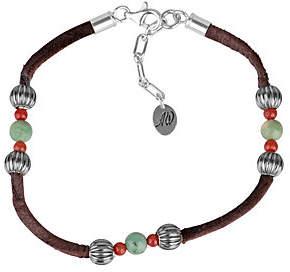 American West Sterling Leather Gemstone Bead Bracelet