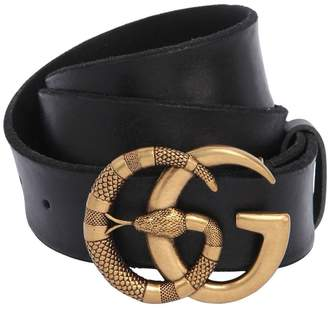 Gucci 40mm Snake Running Buckle Leather Belt