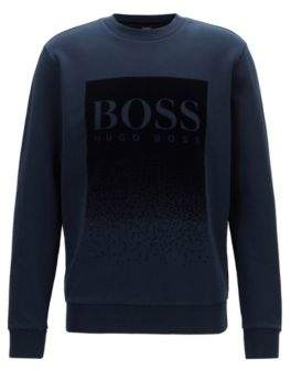 BOSS French-terry sweatshirt with flocked logo print