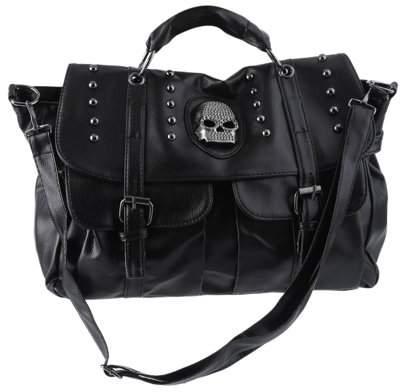 Musics Lady PU Leather Messenger Satchel Purse Handbags For Women Shoulder Bag Tote Women` s Punk Skull Rivet Handbags Sale, Black