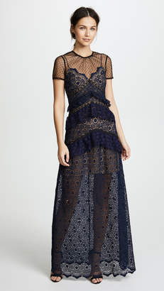 Self-Portrait Self Portrait Lace Paneled Maxi Dress