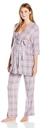 Everly Grey Women's Susan Maternity and Nursing 5 Piece PJ Pant Set with Robe and Sleep Bra