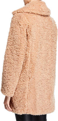 Kensie Faux-Shearling Snap-Front Coat
