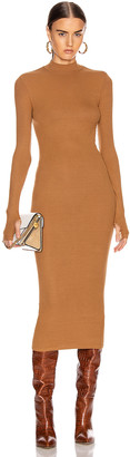 Enza Costa for FWRD Rib Mock Neck Midi Dress in Danish Brown | FWRD