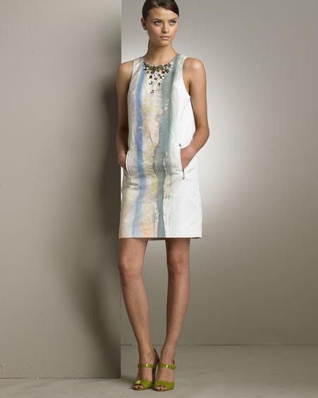 Rachel Roy Jeweled Silk Watercolor Dress