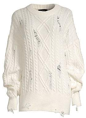 The Kooples Women's Destroyed Cableknit Sweater