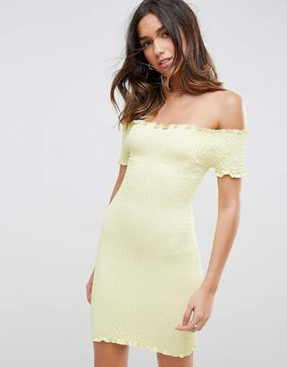 Asos Bardot Bodycon Mini Sundress In Shirring
