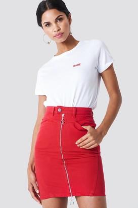 NA-KD Na Kd Front Zipper Pencil Denim Skirt Red