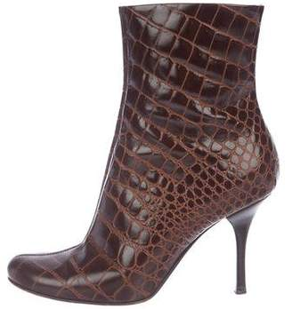 Giuseppe Zanotti Embossed Leather Round-Toe Ankle Boots