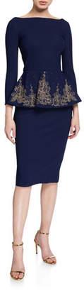 Chiara Boni Bateau-Neck 3/4-Sleeve Embroidered Peplum Dress