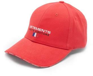 Vetements Logo Embroidered Canvas Cap - Mens - Red