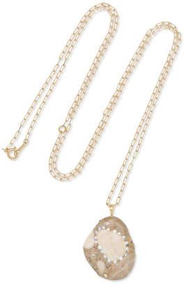 Cvc Stones 18-karat Gold, Stone And Diamond Necklace