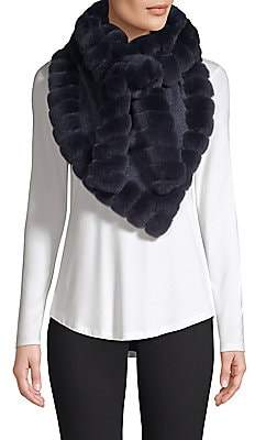 Glamour Puss Glamourpuss Women's Bohemian Rabbit Fur-Trim Cashmere Blend Knit Scarf