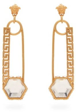 Versace Crystal Embellished Safety Pin Drop Earrings - Womens - Gold