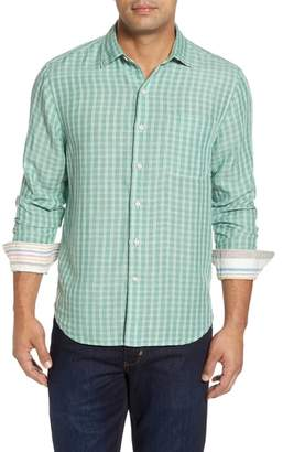 Tommy Bahama Plaid Sand Linen Blend Sport Shirt