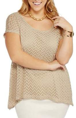 French Laundry Women's Plus Size Cage Back Chevron Lace Top