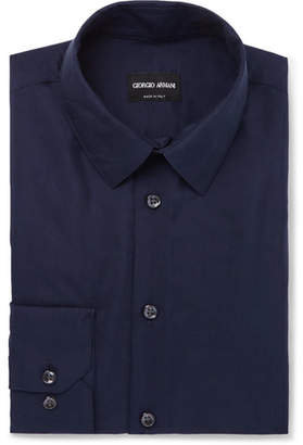 Giorgio Armani Dark-Blue Slim-Fit Silk-Shantung Shirt - Blue