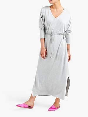NRBY Lizzie Side Slit Drawstring Maxi Jersey Dress, Silver Grey