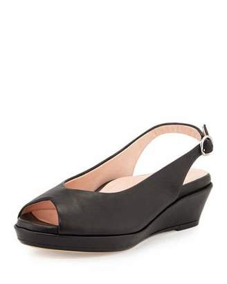 Taryn Rose Tellie Leather Slingback Sandal, Black $239 thestylecure.com