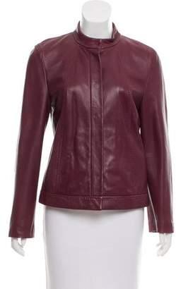 Max Mara Leather Snap-Up Jacket